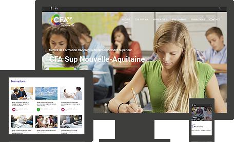 site internet responsive CFA Sup. Nouvelle-Aquitaine